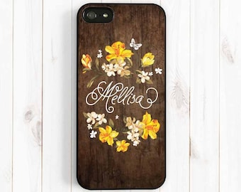 Flower Wreath iPhone Case, Personalized Monogram iPhone 7 5/5C/5S iPhone 4S, Note 3 Printed Image Wood Pattern Samsung Galaxy S3 S4 S5 NP43
