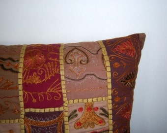 """Contemporary Throw Pillow, Leaves, Earthy Colors, Orange Rust Brown, Decorative Pillow, 16"""" x 4"""""""
