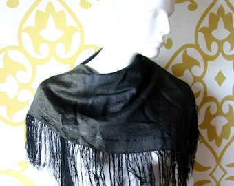 SALE Antique Victorian Black Silk Scarf Shawl Fringe Edwardian Accessories 1900s