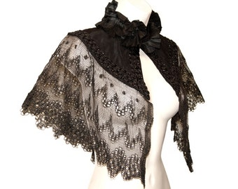 Victorian Mourning Capelet, French Lace and Black Jet Beading, Rare, Collectible, Museum Quality, Vintage 19th Century