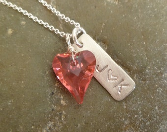 Swarovski Wild Heart Pendant with Stamped Silver Rectangle Tag - Love Charm Necklace - Initial Heart Initial