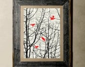 Buy 1 get 1 Free - Forest Birds - Printed on a Vintage Dictionary, 8X10, dictionary art, paper art, illustration art, collage