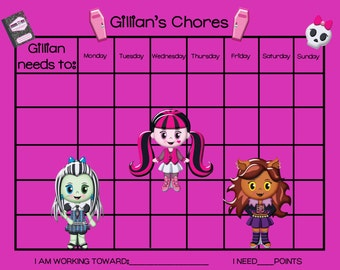 PRINTABLE Personalized Kids Chore Chart - Monster High School Girls VERSION 2- Printable Jpeg or PDF