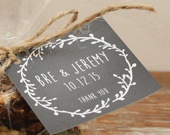 24 - Wedding Favor Tags - Laurel Chalkboard Design - ANY COLOR - Wedding Hang Tag, Personalized Tag, Bridal Shower Favor Tag