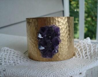 Amethyst Druzy Crystal Cluster Cuff Hammered Gold Bracelet Nature's Tranquilizer Woodland