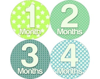 Monthly Stickers, Boys Photo Props, Monthly Baby Stickers, Monthly Baby Photos, Baby Gift, Milestone Stickers, Green Blue (B106)