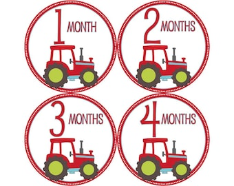 Monthly Baby Stickers, Boys First Year Photo Props, Baby Month Stickers, Baby Announcement, Monthly Photos, Baby Gift, Tractors (B127)