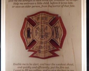Firemans Prayer Wall Plaque with Raised Medallion