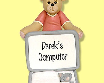 COMPUTER Belly Bear HANDMADE Polymer Clay Personalized Christmas Ornament
