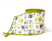 Crib Bumper - Organic Cotton - Fun Tractors with green trim - Custom Nursery