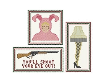 "Set of Three Irreverent Cross Stitch Ornament Charts Inspired by A CHRISTMAS STORY - ""Leg Lamp"" - ""Ralphie"" - ""You'll Shoot Your Eye Out!+"