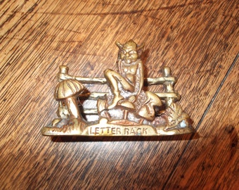 Vintage brass pixie letter holder/stand