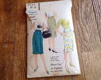 "Vintage Vogue 9721One Yard Wrap Front 50s Slim Skirt Sewing Pattern 28"" Waist"