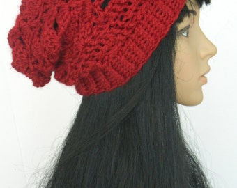 Slouchy Beanie Long Winter Hat Crochet Beanie Head warmers Adults Women Beanie In Cranberry Red