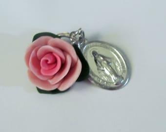 Large Rose Pendant, car accessories, zipper pull, clay, handmade