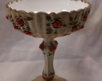 Beautiful Large Footed Compote or Candy Dish in the Rose pattern by Fenton -Hand Painted Red Roses over Milk Glasss
