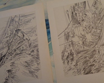 TRIO Old SHIP Sailors & Anchor Life Boat  Vintage pen ink bookplate sketches printed in Germany, artist Guenthur Schulz, 1950s, LOTS in shop