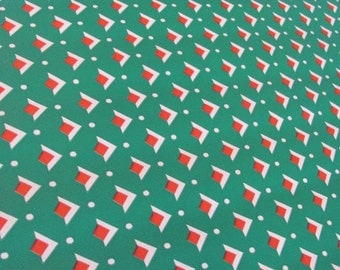 Vintage 50's Green, Red and White Triangles Christmas Roll Wrapping Paper - 96 inches long - Gift Wrap - Presents - Holidays - Xmas