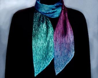 Long Skinny Hand Dyed Jewel Tone Silk Scarf