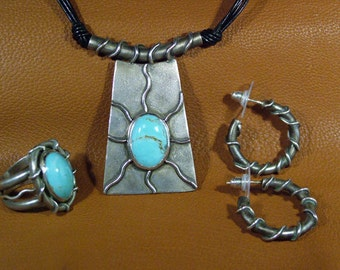 Sterling & Turquoise Pendant and Ring with wire earrings