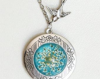 Real dried flowers bird silver locket,t,Antique Style Locket,Silver Locket,Wedding Necklace