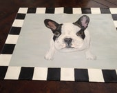 English Bulldog fans this young pup belongs in your house. A unique floor cloth for any roon.