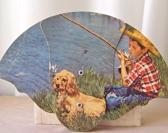 Vintage Trifold Fan Lithograph Just Fishing Folding Fan Advertising Fan Boy and Dog Gone Fishing Fan Vintage 1950s