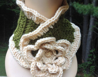 Green and Cream Ruffle Flower Scarf