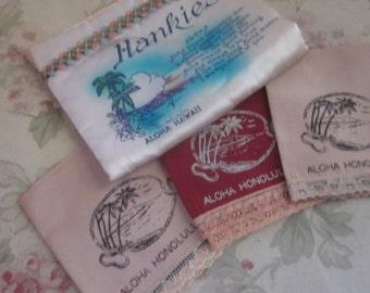 Vintage Set Hawaii 3 Hankie & Satin Envelope Holder Aloha