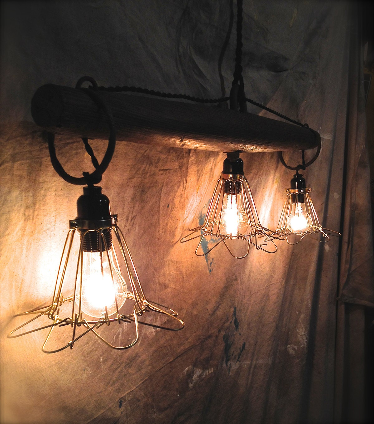 Rustic Primitive Pendant Lights / Upcycled Farm By