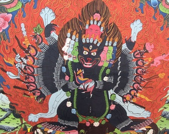 "Buddhist Thangka, Vintage Tangka Painting of a Wrathful Deity from Nepal, 28"" x 39"" inches"