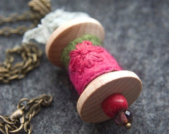 Raspberry Felt and Wooden Spool Pendant