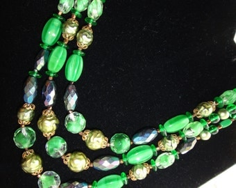 SALE  Assorted Green Glass Bead necklace
