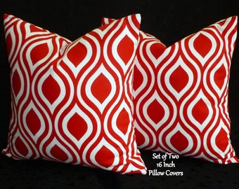 Decorative Pillows, Accent Pillows,Throw Pillows, Pillow Covers - Two 16 inch Lipstick Red and White