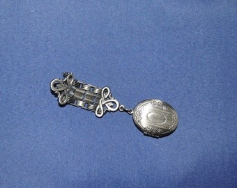 Vintage Locket Brooch in Pewter Tones