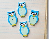 Blue Owl Buttons - Wooden Set of 4 - Lot 116