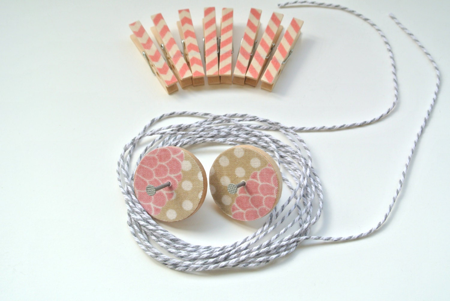 Art Hanging Kit ~ Mini Clothespins ~ Baker's Twine ~ Pinks and greys