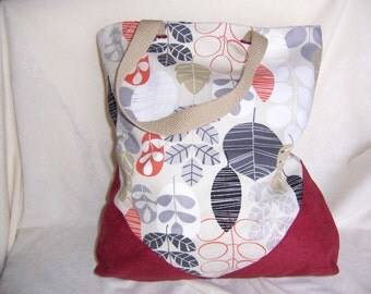 Market Tote of Beautiful Cotton Print and Micro Suede Trim for Women, Ladies