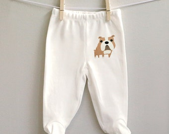 Baby pants, bulldog baby pants, footed baby pants