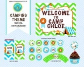 Camping Party Collection Chevron Tent Camp Bunting Birthday Printable bonfire green teal orange brown Party Set