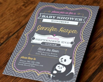 Print Your Own - Panda Gray Chevron Baby Shower