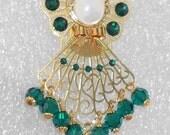 "Angel Pin / Brooch - ""Ariel"" - Emerald Swarovski Crystals & Rhinestones, Goldtone Filigree"