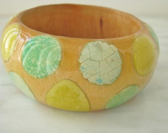 60s Blue Green Yellow Wood Bracelet Bangle Tropical