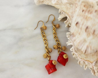 Branch Coral Red Gold Nugget Drop Duster Earrings OOAK Vintage Reconstructed Jewelry