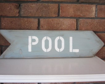 Handmade POOL  sign wall art decor blue arrow ocean swim summer Distressed shabby