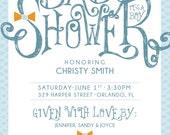 Boy Baby Shower Invite  - Instant Download PDF Baby boy bow tie baby shower invitation baby blue invitation