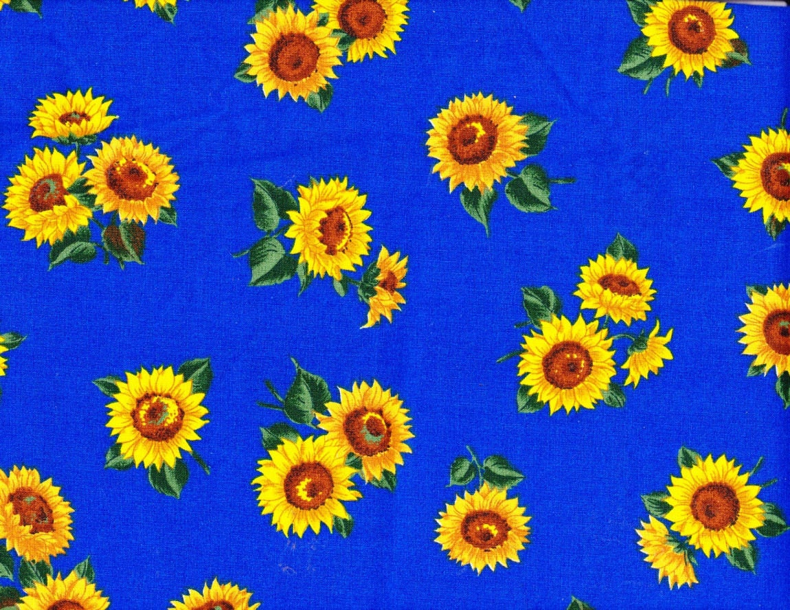 Cotton Fabric Bright Yellow Sunflowers Royal Blue