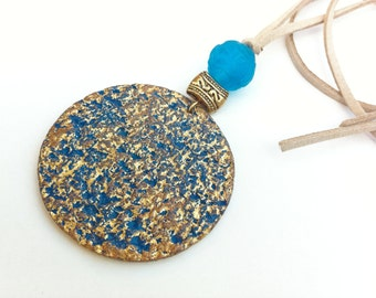 Stunning cottage chic blue and gold paper necklace, Something Blue, Paper jewelry one year anniversary gift for wife