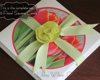 FLORAL SQUARE CARDS, set square notecard, flower cards, flower photograph, card gift set