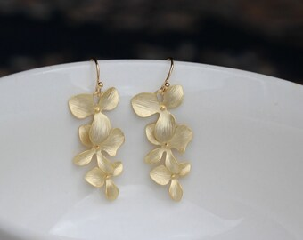 gold orchid earring , gold flower earring , bridesmaid earring , drop earring